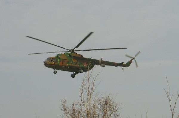 Первый вертолёт появился из - за лесопосадок